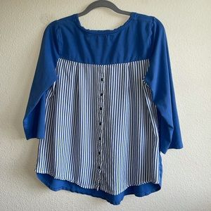 Blue Top with Stripe & Button Detail on Back